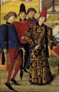 Schnabelchuhe und Kopfbedeckung des Mannes